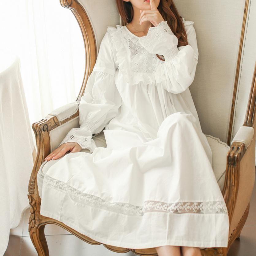 100 Cotton Pure Royal Pure White Nightgown Princess Long Sleeve Nightdress Ladies Sleepwear White Women S Ni La Robe Du Soir Chemise De Nuit Tenue Romantique