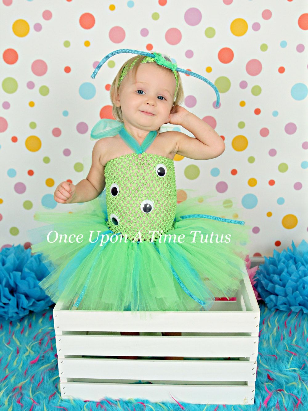 Nice Green Blue Crazy Alien Monster Tutu Dress   Birthday Outfit Halloween  Costume Baby Girl 3 6 9 12 Months 2T 3T 4T 5T   Cute Little Alien By ...