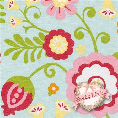 Riley Blake Simply Sweet Fabric C3460 Blue floral Lori Whitlock Fat Quarter
