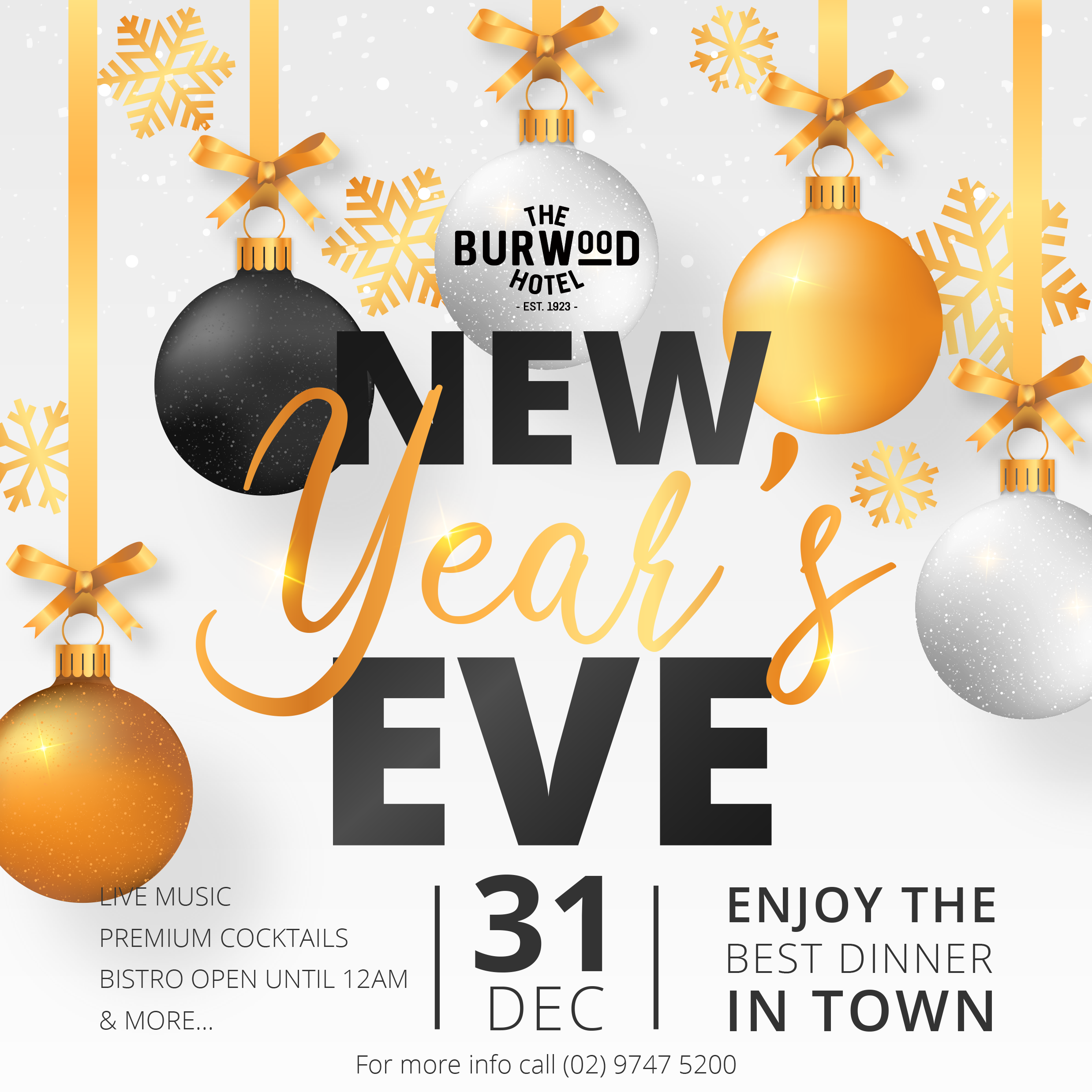 Celebrate New Year's Eve at The Burwood Hotel with live