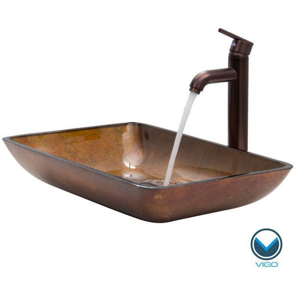 Vigo Rectangular Russet Glass Vessel Sink and Faucet Set in Oil ...