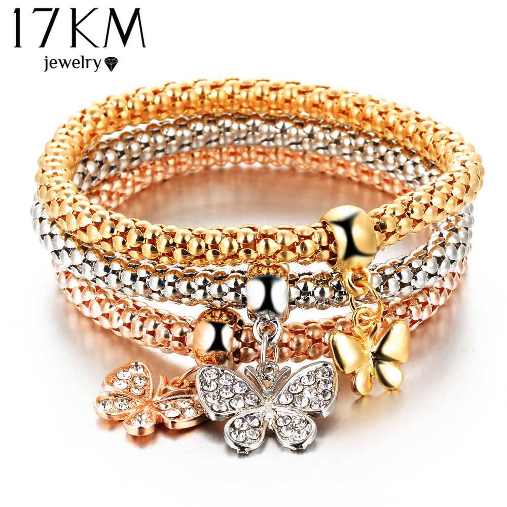 Km hot pcsset crystal butterful bracelet u bangle multiple