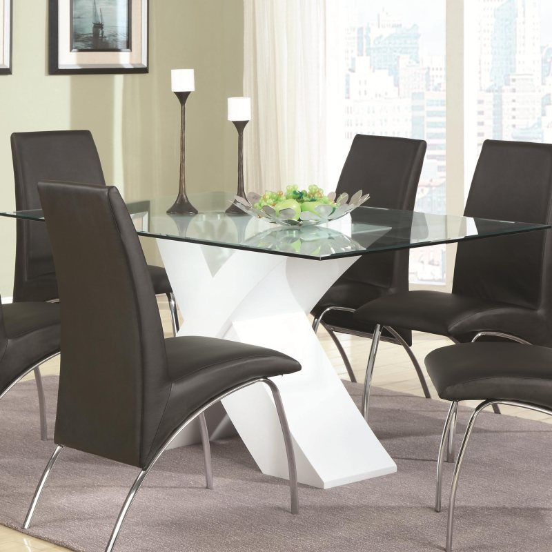 White Glass Table Pedestal Modern Black Chairs Design Desires