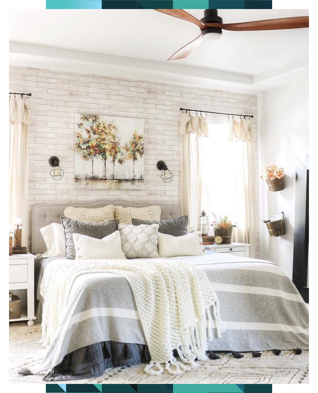 Pale Gray WhiteWashed Faux Brick Wallpaper in 2020 (With