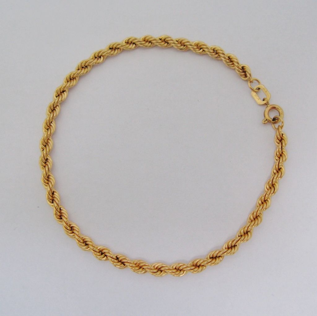 10 Karat Gold Braided Rope Chain Bracelet With Images Chain Bracelet Rope Chain Chain