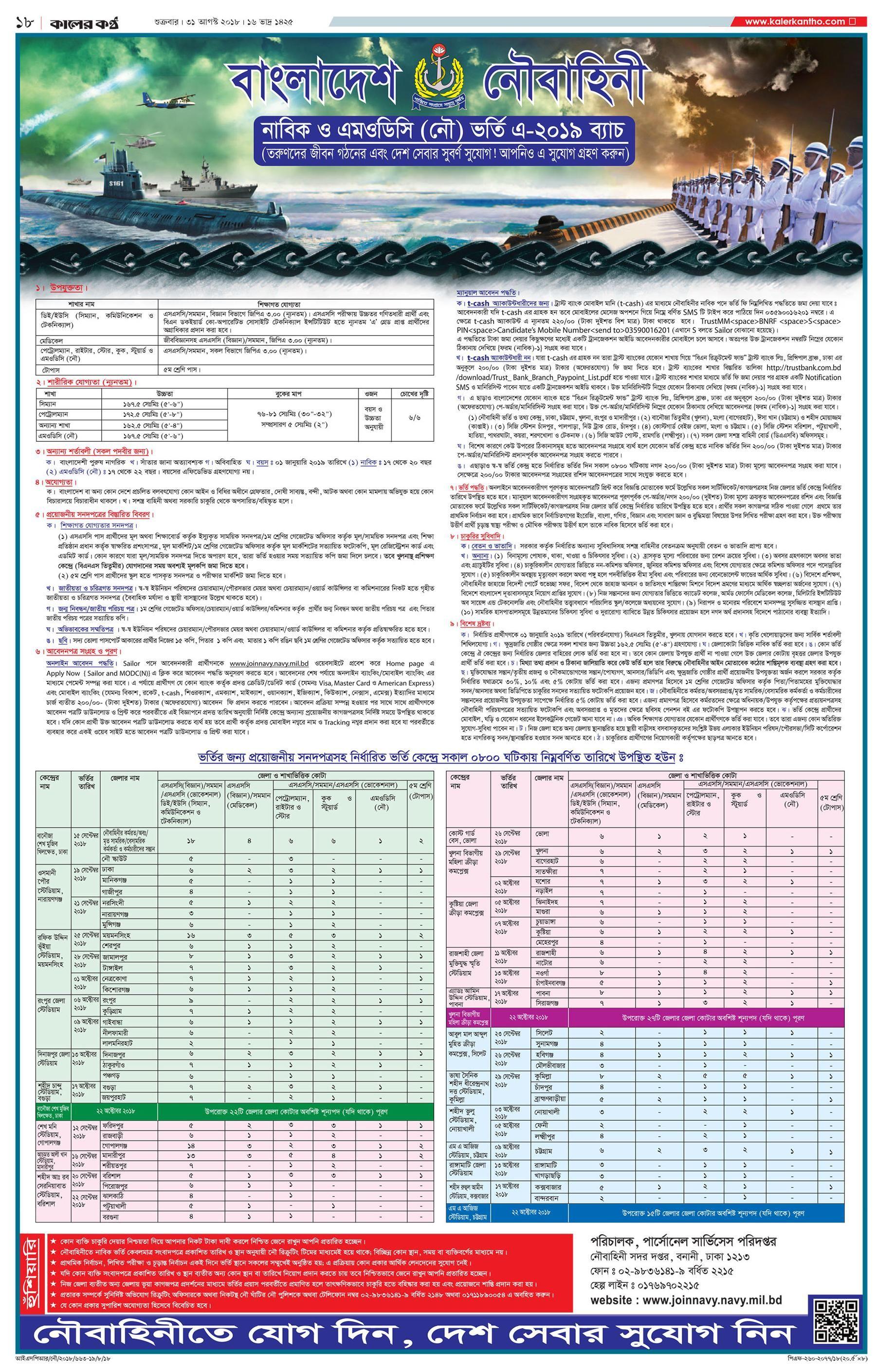 Bangladesh Navy Job Circular Apply & Application Form 2018