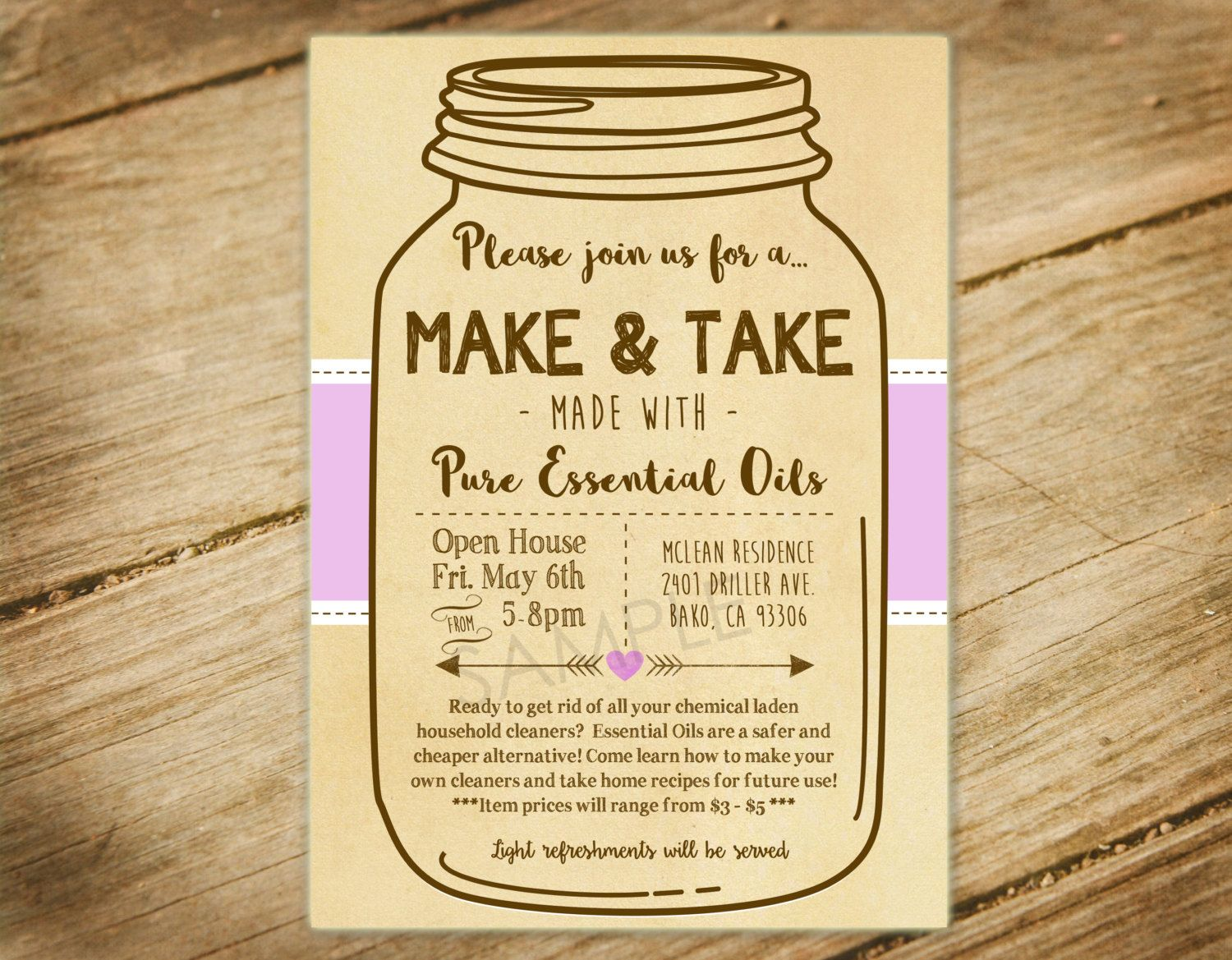 Make And Take Party Essential Oils Diy Party Mason Jar