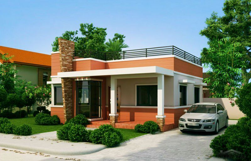 مخطط بيت صغير المساحه طابق واحد غرفتين نوم House Elevation 3d House Plans House Front