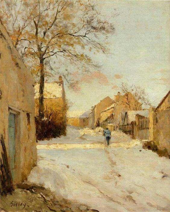 Alfred Sisley (1839-1899) A Village in Winter | Peinture paysage, Peinture hiver, Art paysagiste