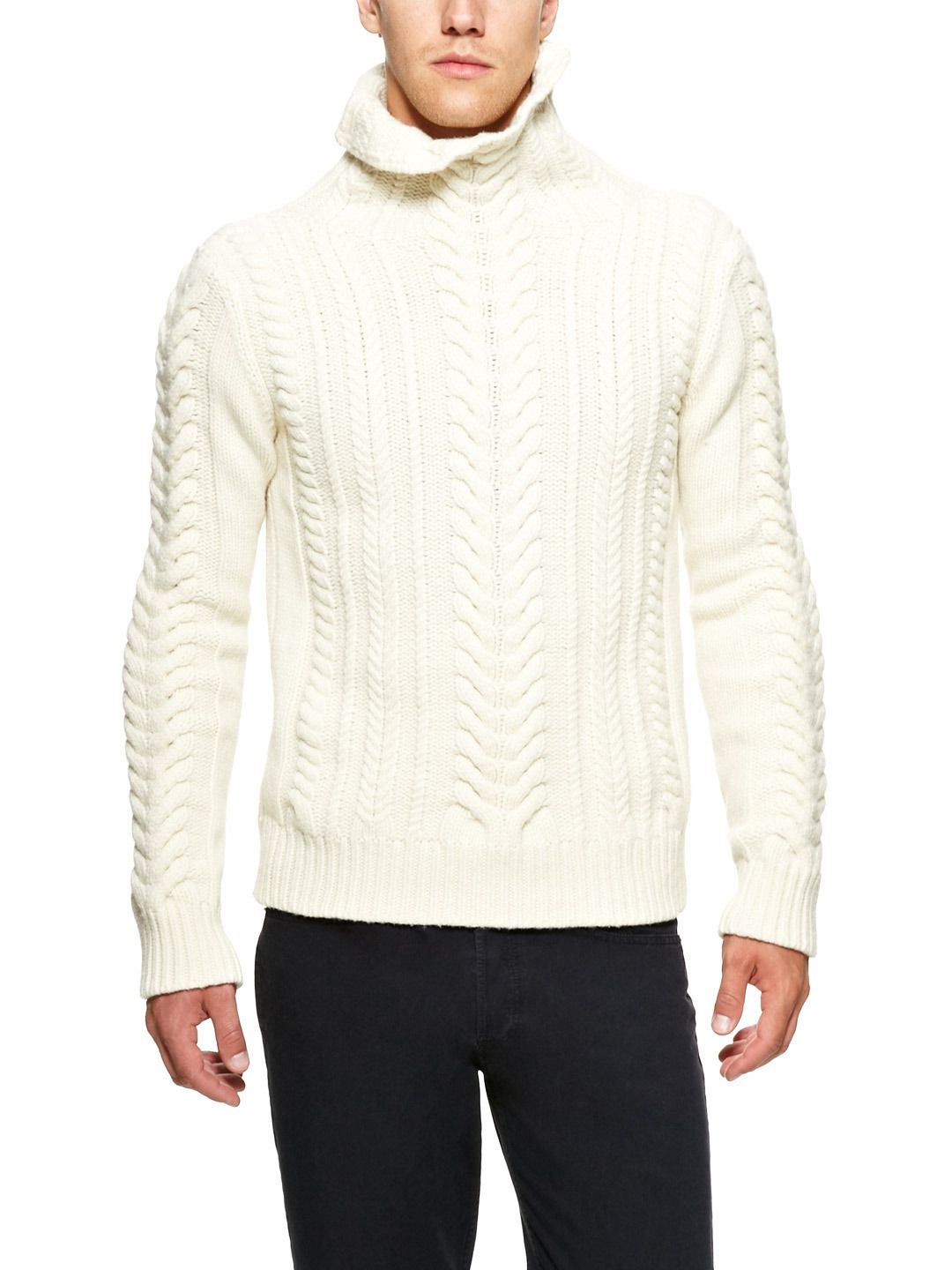 Cable Knit Mock Turtleneck Sweater by Balmain on Park & Bond | For ...
