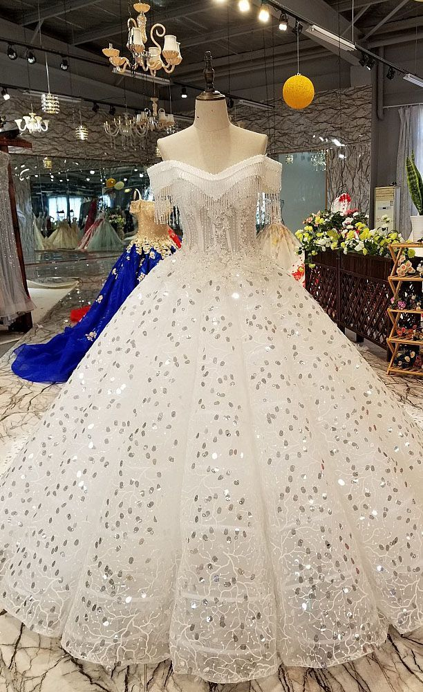 2018 Off The Shoulder Ball Gown Wedding Dresses with Tassel Sparkly ...