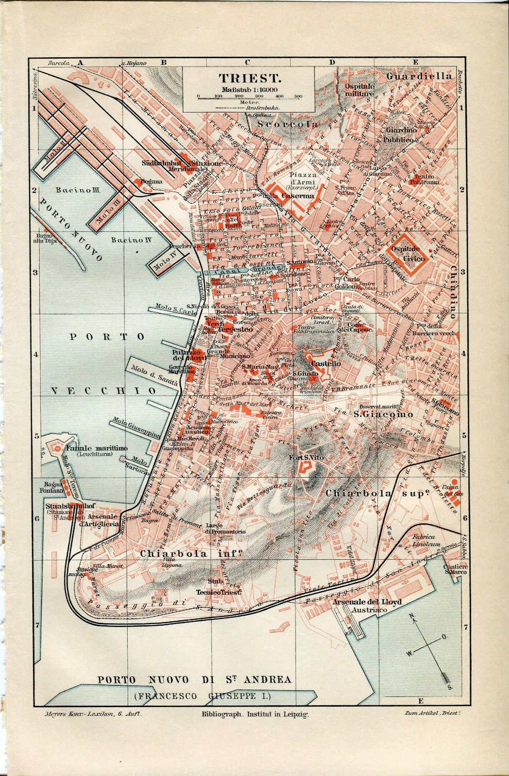 1894 ITALY Trieste City Plan Antique Map | eBay | Trieste ...