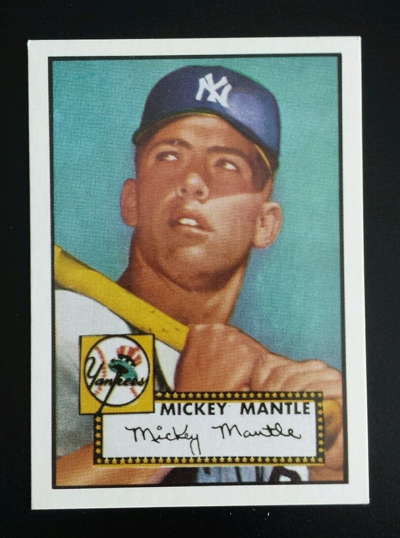 Mickey Mantle New York Yankees Rare Rookie 1952 Topps Baseball Card Mickey Mantle Baseball Cards Yankees Baseball
