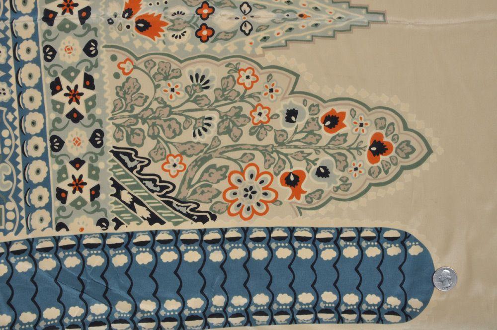 Mood Fabrics : New York Fashion Designer Discount Fabric | FS12649C Beige/Slate/Pumpkin/Black Classical Prints