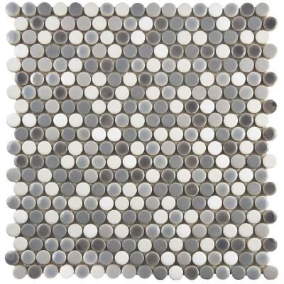 Merola Tile Comet Penny Round Luna 11 1 4 In X 11 3 4 In X 9 Mm Porcelain Mosaic Tile Fshcomlu The Home Depot Porcelain Mosaic Tile Porcelain Mosaic Mosaic Tiles