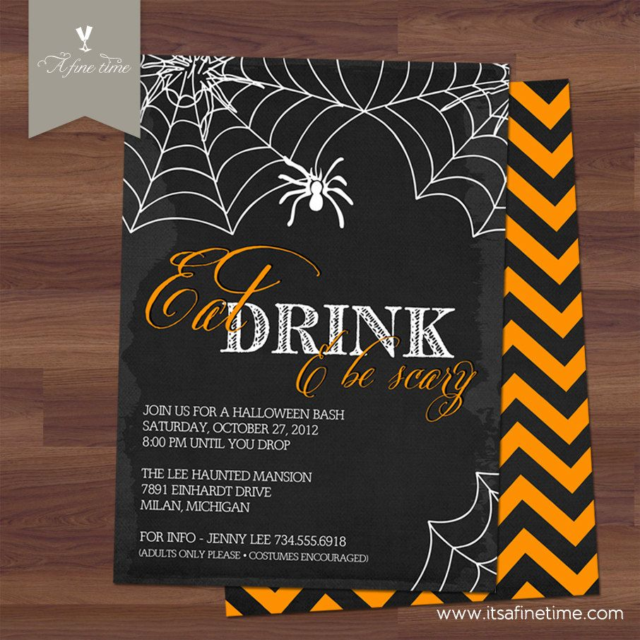 Halloween Invitation - Party Invite - Eat, Drink and Be Scary ...