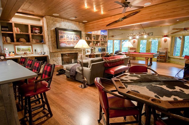 Rustic Game Room Like The French Doors With Windows To