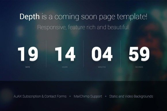 depth â coming soon page template bootstrap themes 6 00