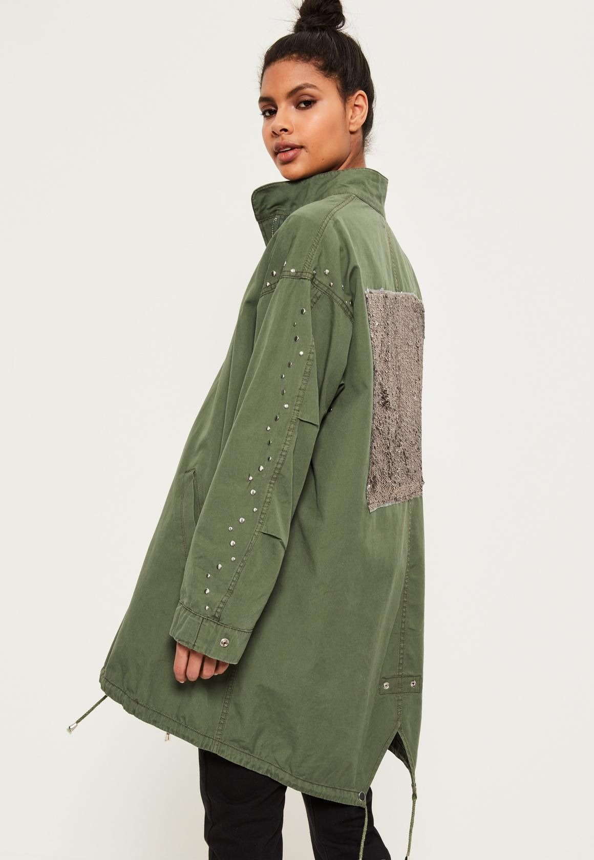 Petite Khaki Sequin Back Oversized Parka | Missguided, Khakis and ...