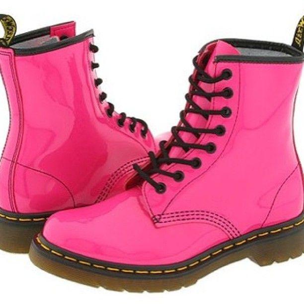 Neon Pink Boot Schnurstiefel Damen Rosa Stiefel Rosa Doc Martens