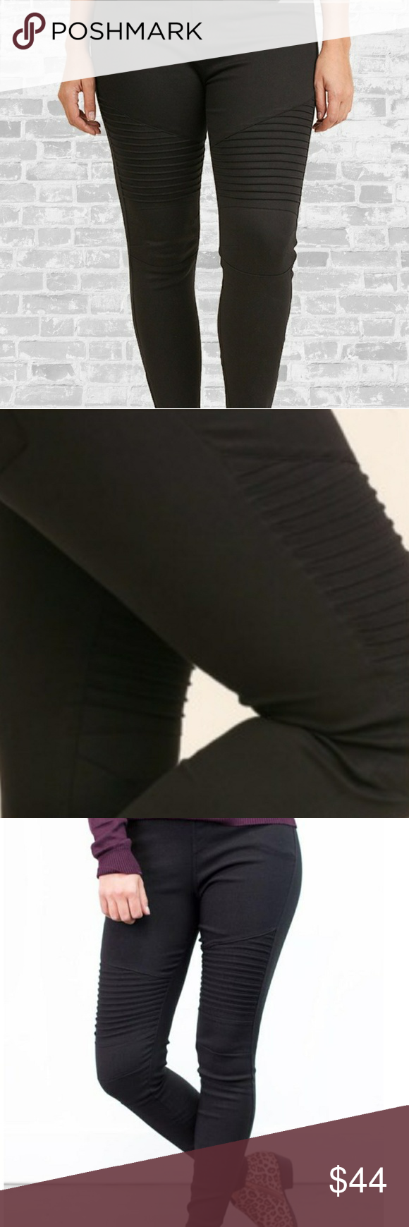 Plus Size Moto Jeggings These Moto Jeggings are a lightweight, super soft denim twill. Elastic waist (so comfy), moto styling on the legs. These must haves will match with everything!  I have 2 pair myself.  They are TTS and believe me You are going to wear them till they fall apart 😜. You will ABSOLUTELY LOVE them or...I will buy them back (really I will)!  You can't lose👍 Pants