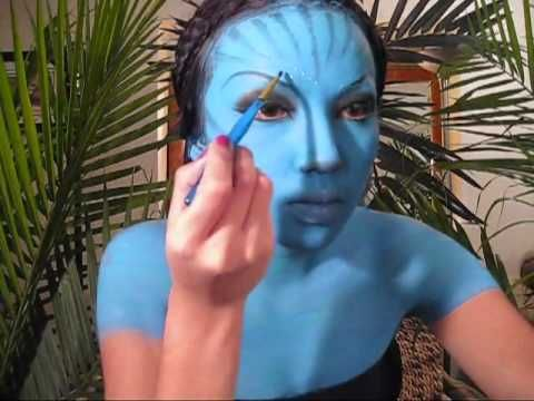 toddler halloween costume idea avatar make up tutorial trick or