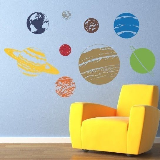Planet Wall Decal Set   Solar System Wall Art   Children Wall Decals
