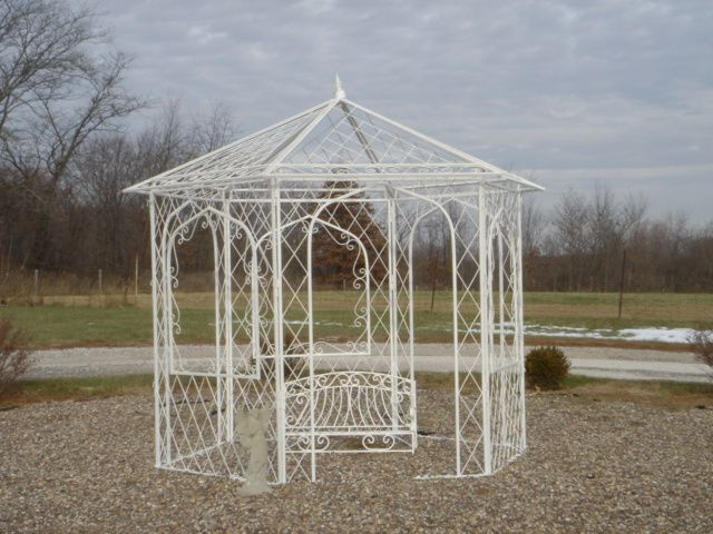 Shabby Chic Wrought Iron Garden Gazebo Decoration