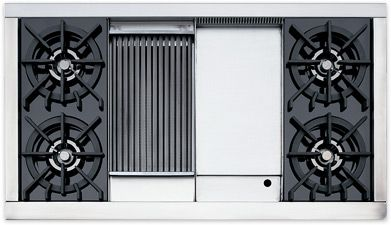 Wolf Range Top 48 Griddle Charbroil Areas In The Center 4 Gas Burners Gas Stove Top Range Top Gas Cooktop