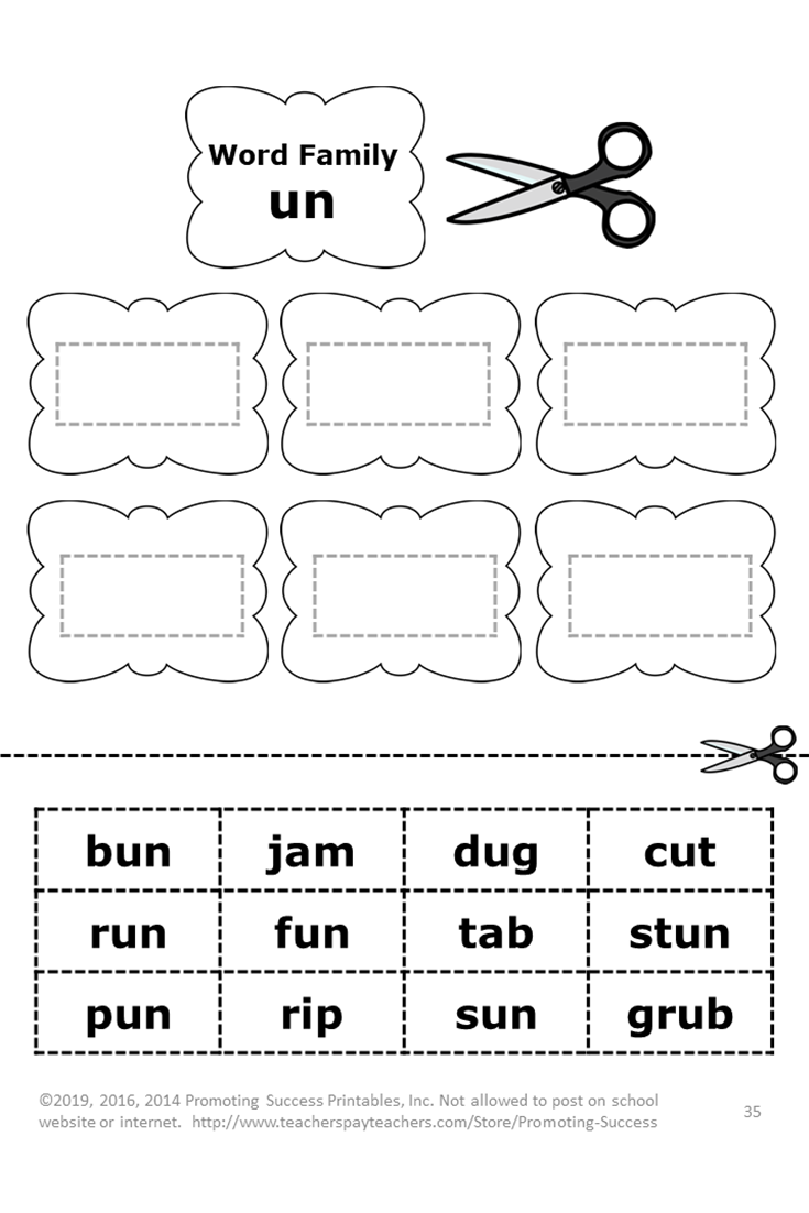 - ELA Word Families Kindergarten 1st Grade BUNDLE, Distance Learning