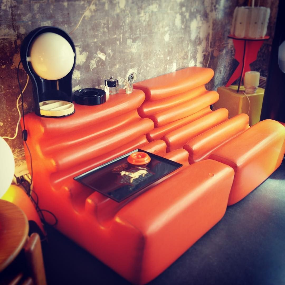 Pop Orange Lounge Chairs By Liisa Beckmann For Zanotta Couroc Tray With A Unicorn Lamp Telegono By Vico Magistretti Ashtray By Chair Vintage Designs Design