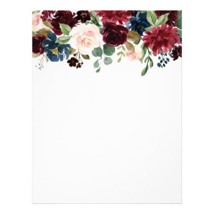 Burgundy Blue Watercolor Flowers Border Letterhead