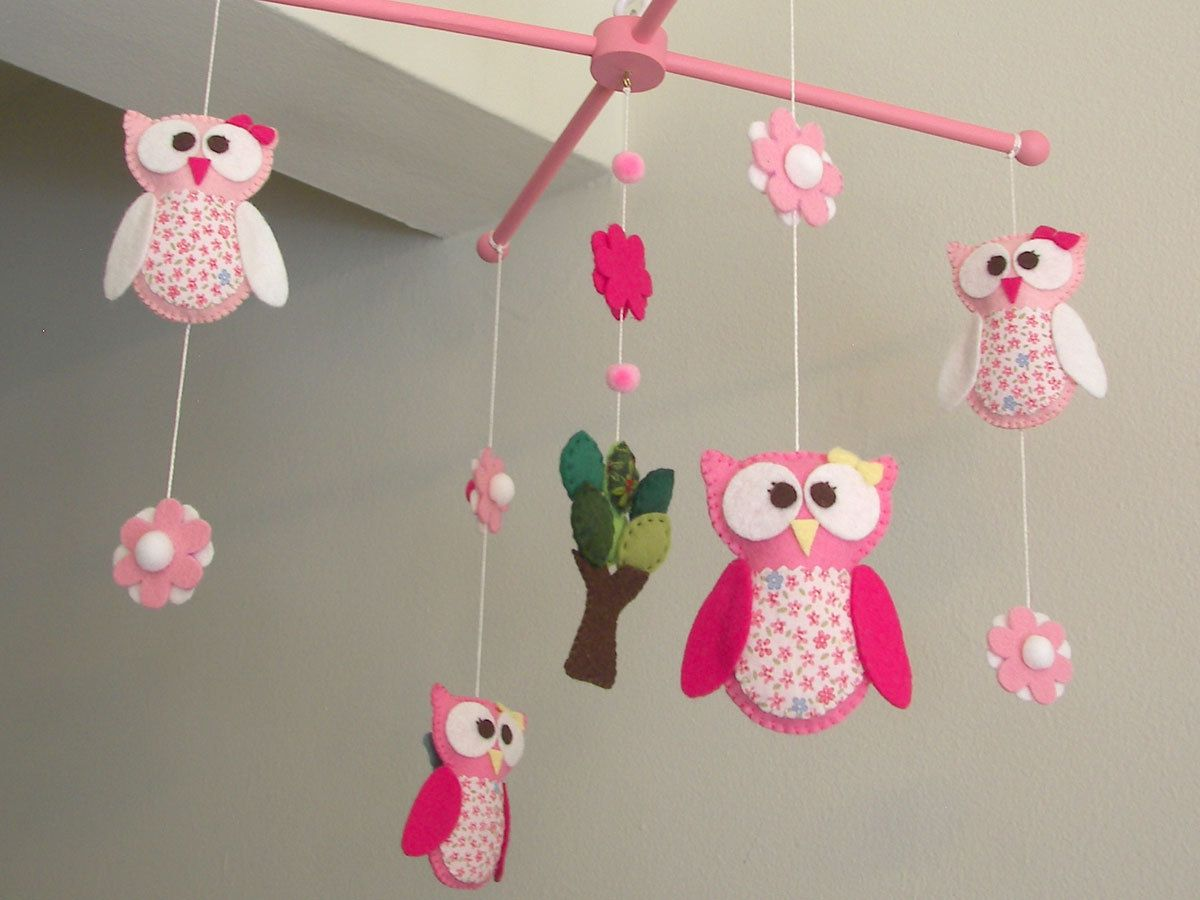 Baby Crib Mobile Owl My 1st Pink 80 00 Via Etsy