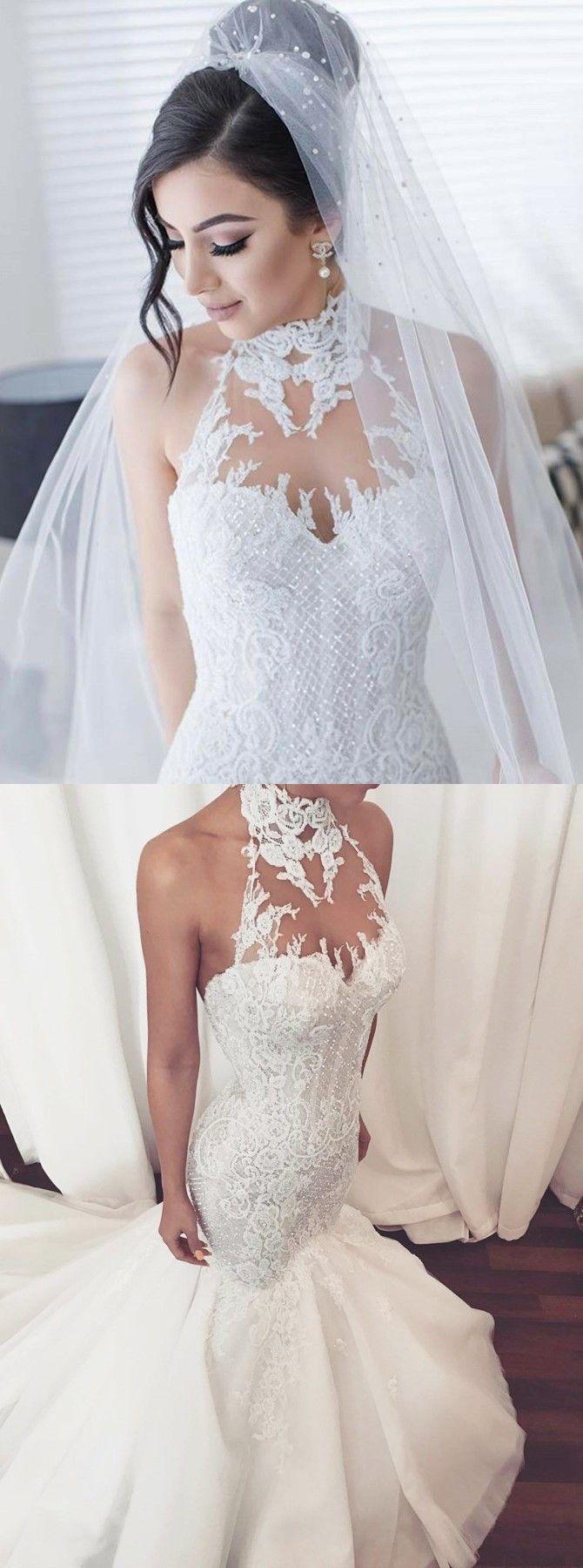 Lace wedding dress halter  mermaid halter wedding gowns with appliques fashion formal wedding