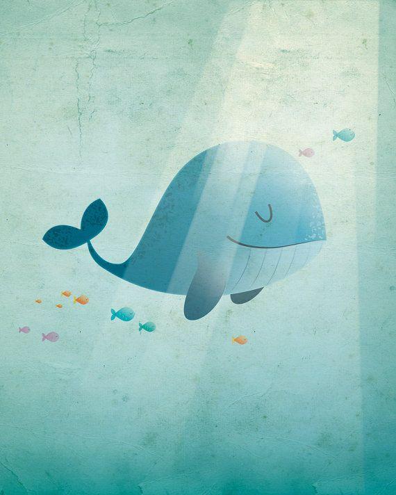 Blue whale art print nursery illustration by IreneGoughPrints