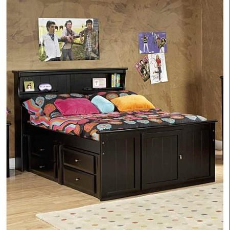 full bed with bookcase headboard and