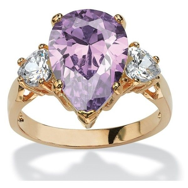 PalmBeach Jewelry 6.75 TCW Lavender CZ Ring 14k Yellow Gold-Plated (95 BRL) ❤ liked on Polyvore featuring jewelry, rings, jewelry & watches, gold cubic zirconia rings, heart shaped rings, cz gold rings, gold heart ring and yellow gold rings