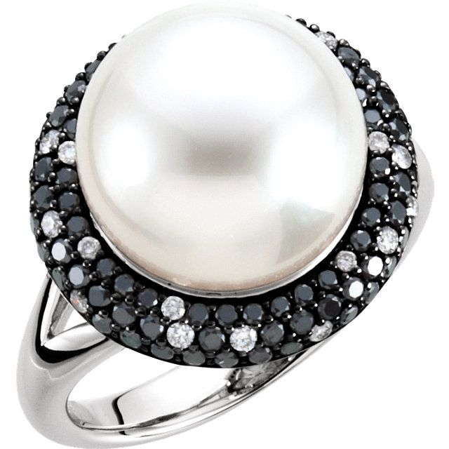 This exquisite 14K White Gold 12mm South Sea Cultured Pearl and 1/3 ctw Black and White Diamond Ring is another RedboxJewels creation.