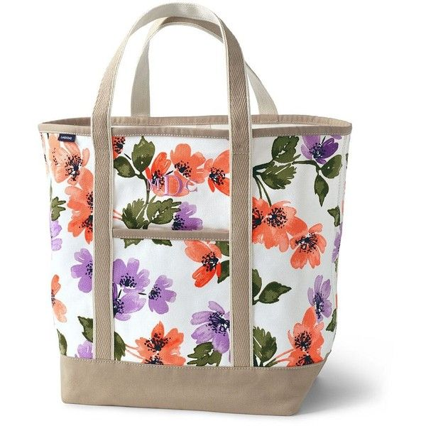 511b7b3f66cd Lands  End Large Print Open Top Canvas Tote Bag ( 44) ❤ liked on ...