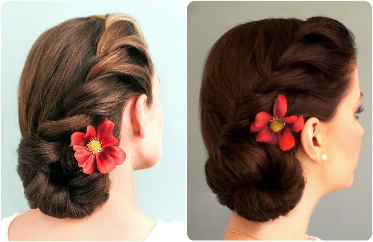 Rope Braided Side Bun Side Bun Hairstyles Side Braid With Bun Wedding Guest Hairstyles
