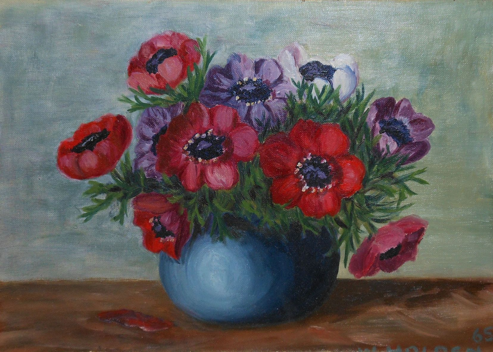 Custom Anemone Oil Impasto Original Painting Choose Your Color And Size Anemone Flowers Anemone Flower Flower Painting Original Paintings