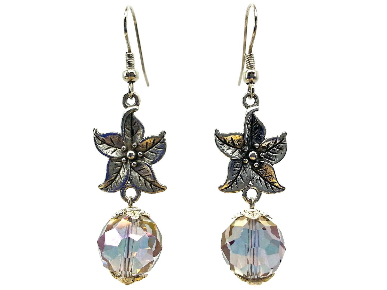 Use coupon 10OFFTLBCJ for 10%OFF on $10.00 or more  Use coupon 20OFFTLBCJ for 20%OFF on $20.00 or more ---- Free Shipping Jewelry SALE Handmade Beaded Earrings Elegant Antique Silver Faceted Iridescent Crystal Dangle Earrings (Item number LBE003) by TheLoveBabyCompany on Etsy