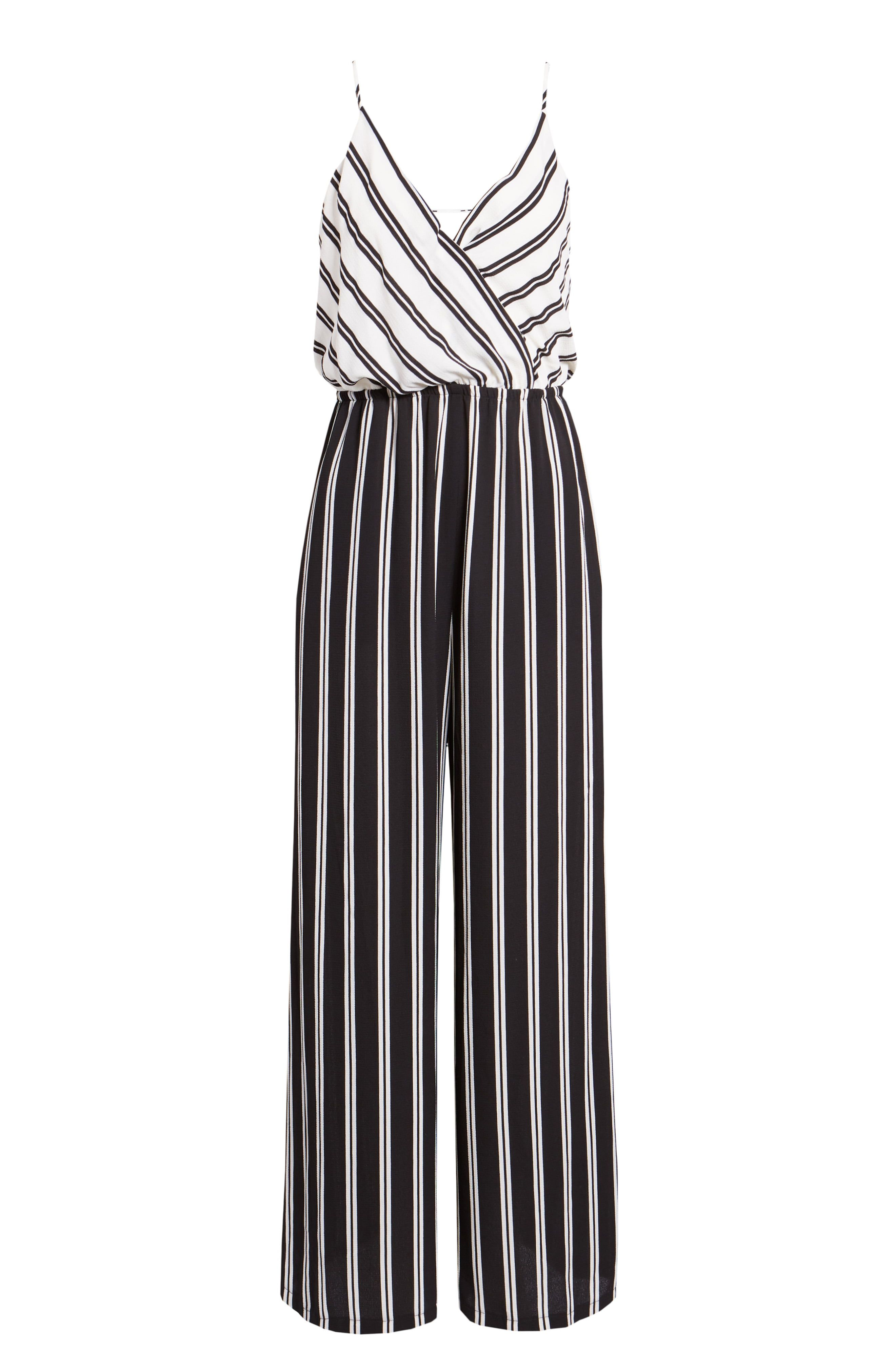 Black-and-white stripes go from light to dark, giving graphic dimension and a chic two-piece look to this one-and-done jumpsuit with a blouson silhouette. Style Name:Chelsea28 Faux Wrap Jumpsuit. Style Number: 5979369. Available in stores.