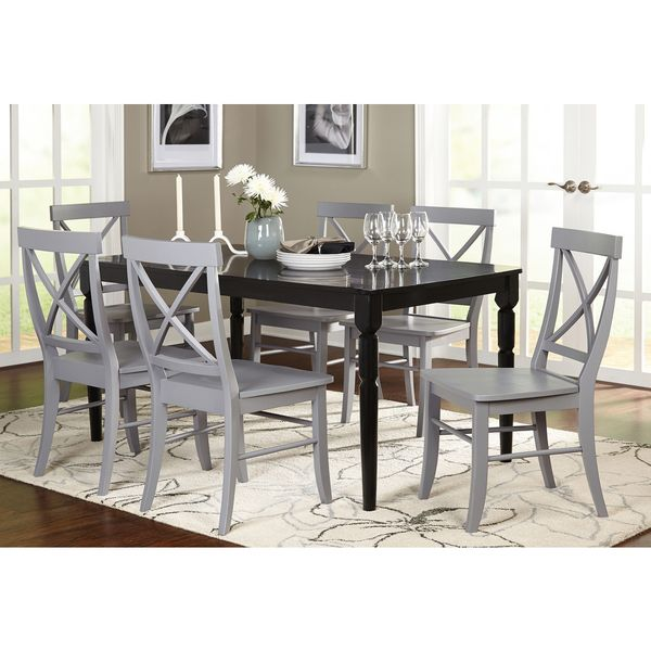 Best Deals On Dining Table And Chairs: Simple Living Albury Black And Grey Cross Back Dining Set