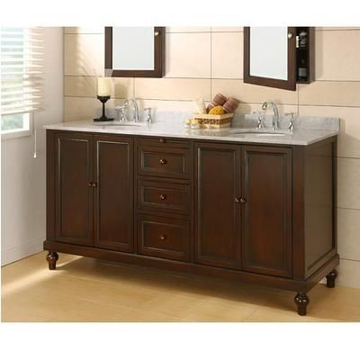 """Direct Vanity 6070D9-EsT-C 70"""" Classic Double Bathroom Vanity Sink and Cabinet with White Carrera Marble Top"""