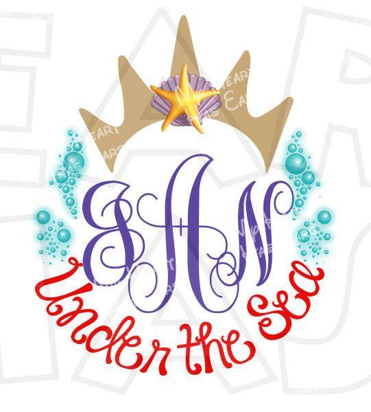 Ariel the little mermaid Crown personalized monogram digital clip ...