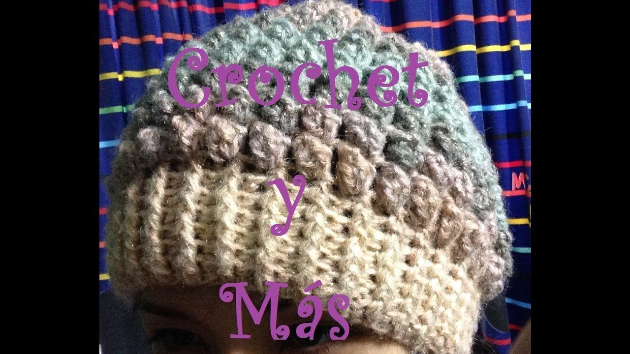 Gorro con puntada popcorn (palomita)/Crochet | Teji2 | Pinterest ...