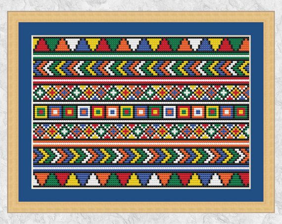 African cross stitch pattern, beadwork effect, cross stitch border