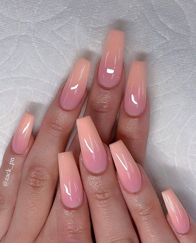 Peach Ombre Nails Ombre Nail Designs Pink Ombre Nails Coffin Nails Designs