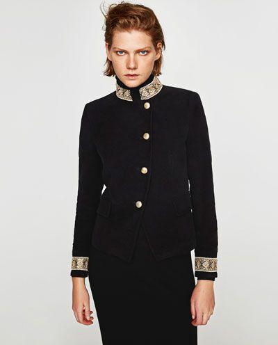 Velours Zara France Veste Blazers Passementerie Avec Femme En vCB5Cwq